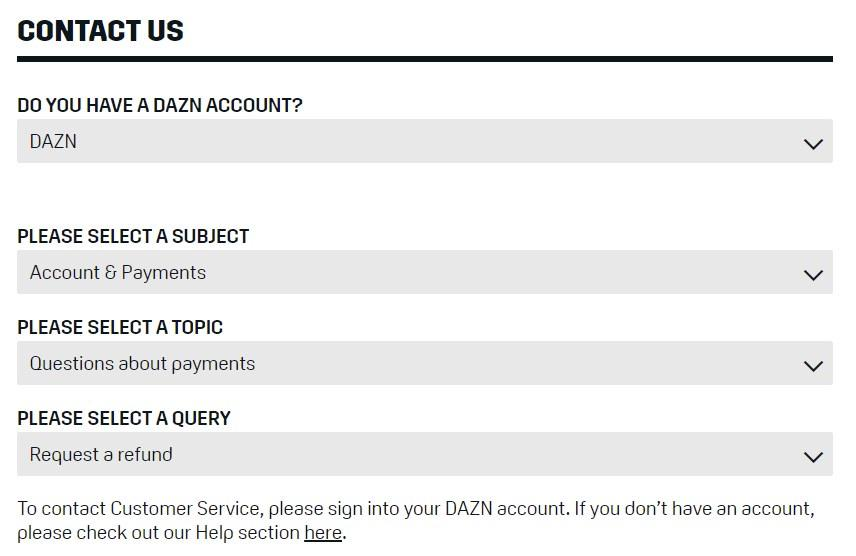 Cancel And Refund Request Form For Dazn
