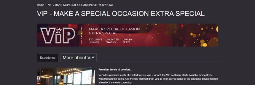 Screenshot Of Cineworld Website