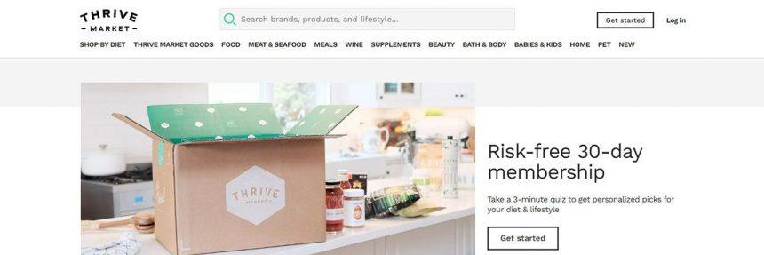 Screenshot Of Thrive Market Membership Website