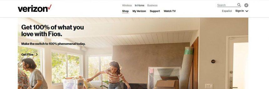 Screenshot Of Verizon Fios Website